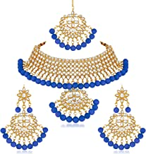 Apara Gold Plated Traditional Blue Semi Bridal Kundan Jewellery Set Choker Necklace Earring MaangTikka for Women