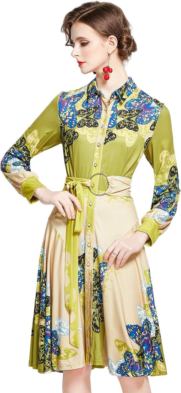 Women's Chiffon Floral Print Button up Dress Midi Casual A-line Shirt Dress