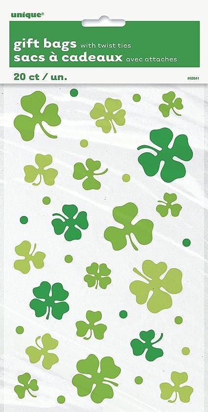 Saint Patrick's Day Lucky Shamrock Cellophane Bags, 20ct