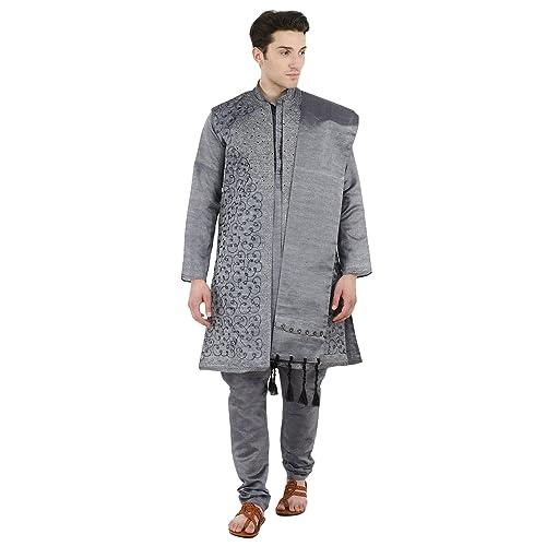 ac1c8fd1cc03 Kurta Pajama Stole and Overcoat Set for Men 4-Pieces Long Sleeve Sherwani Wedding  Party