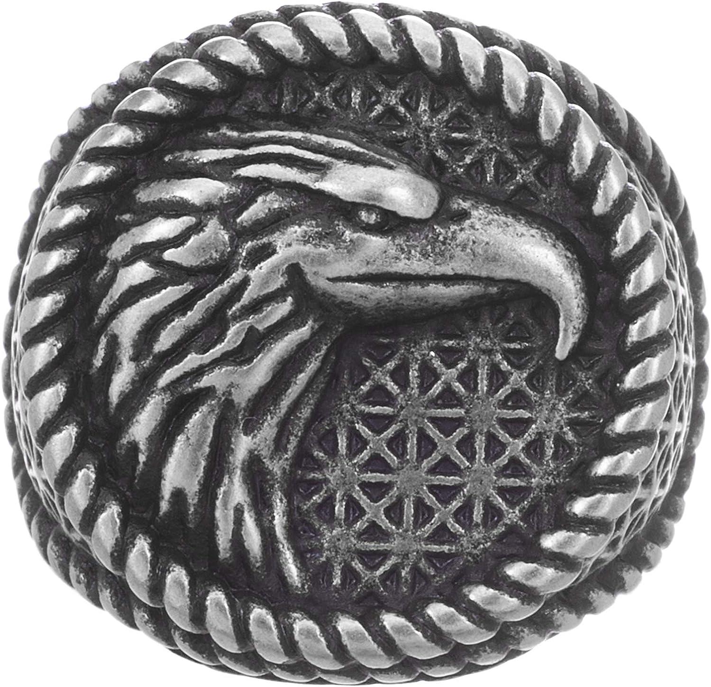 Steve Madden Oxidized Stainless Steel Rope Edge Eagle Ring for Men