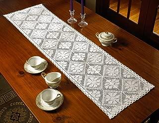 Violet Linen Stars Crochet Vintage Design Table Runner, 14
