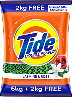 Tide Plus Double Power Detergent Washing Powder Jasmine & Rose 6kg + 2kg FREE