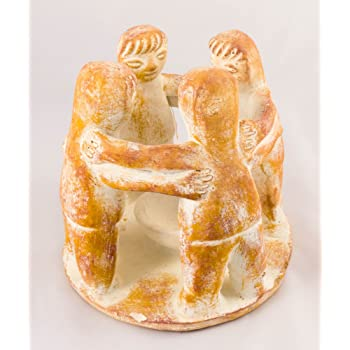 Circle of Friends, Terracota 4 figures Sand/Beige - Fair trade and handmade in Mexico - Incense burner or tealight holder in the centre - Indoor or outdoor use L19xW19xH18cm