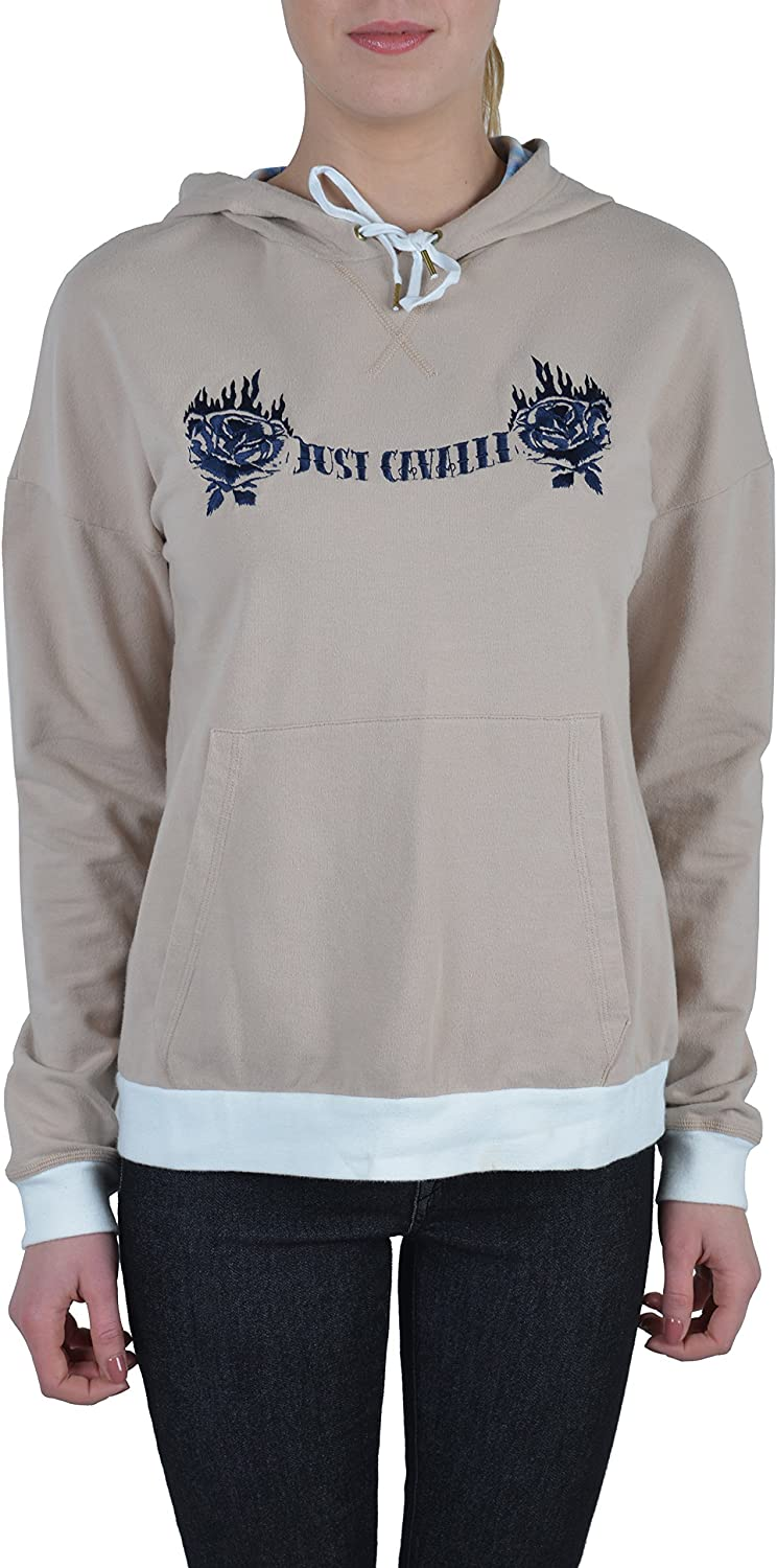 Just Cavalli Beige Logo Decorated Women's Cropped Hoodie US S IT 40