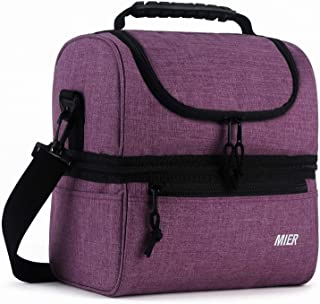 MIER Adult Lunch Box Insulated Lunch Bag Large Cooler Tote Bag for Men, Women, Double Deck Cooler (Purple, Large)