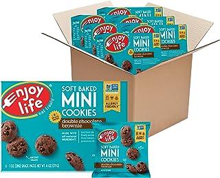 Enjoy Life Mini Double Chocolate Brownie Soft Baked Cookies, Nut Free Cookies, Vegan, Gluten Free, 6 Boxes (6 Snack Packs ...