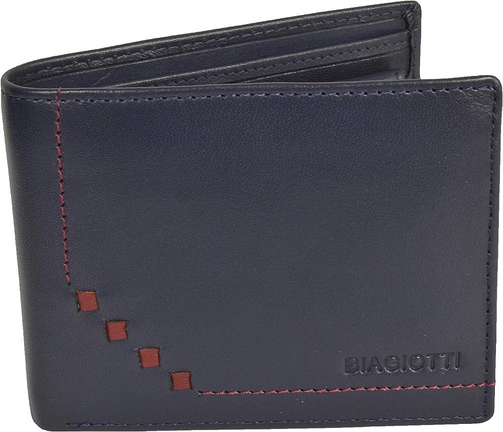 Laura biagiotti uomo, portafoglio , porta carte di credito in vera pelle, Blu 764