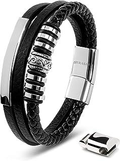 SERASAR | Pulsera de Cuero Premium para Hombre en Negro | Cerradura Magnética de Acero Inoxidable en Negro, Plata y Oro | ...