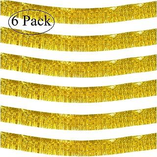 10 Feet Long Roll Gold Foil Fringe Garland - Pack of 6 | Shiny Metallic Tassle Banner | Ideal for Parade Floats, Bridal Shower, Bachelorette, Wedding, Birthday | Wall Hanging Fringe Garland Banner