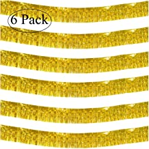 10 Feet Long Roll Gold Foil Fringe Garland - Pack of 6 | Shiny Metallic Tassle Banner | Ideal for Parade Floats, Bridal Shower, Bachelorette, Wedding, Birthday | Wall Hanging Fringe Garland Banner