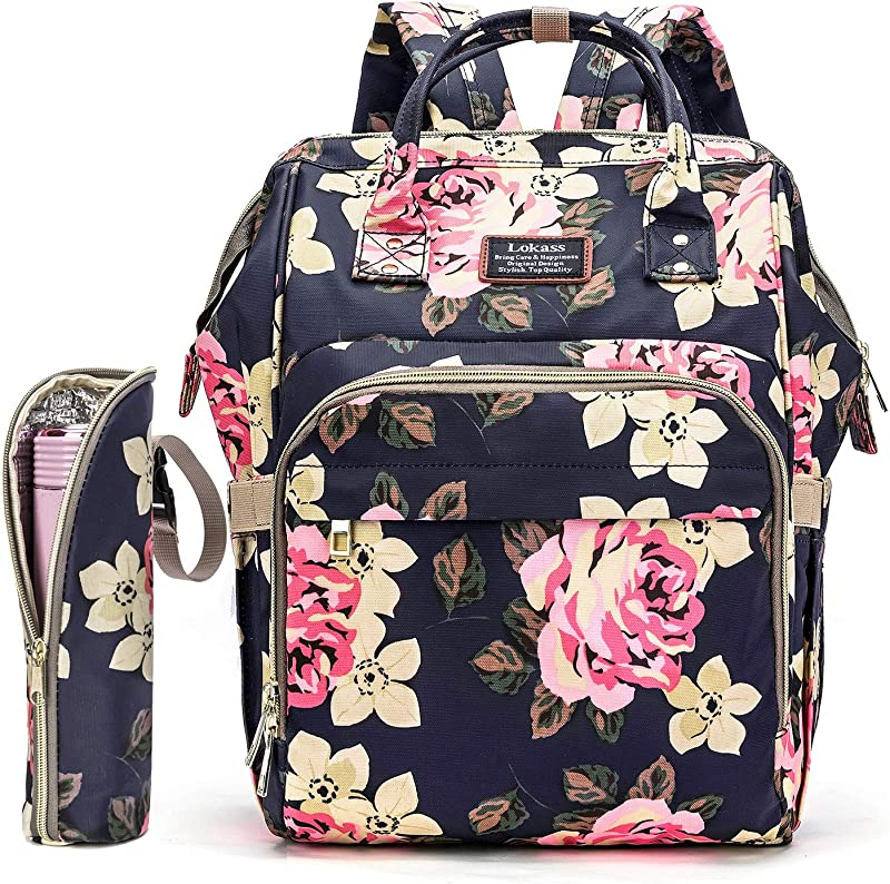 Diaper Bag Backpack Floral Baby Bag Water Resistant Baby Nappy Bag With Insulated Water Bottle Bag Changing Pad For Women Girls Mum Flower Pattern