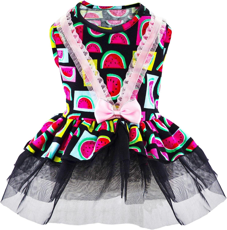 Small Ranking TOP7 Dog Dress - Watermelon Black 2021 new Printed Appar Clothes