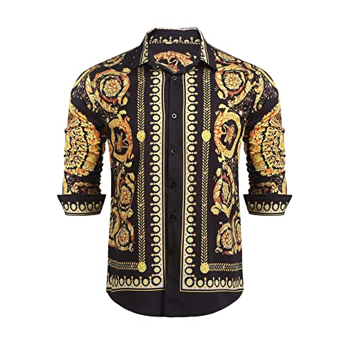 17dcdce48044ea Mens Long Sleeve Shirt Luxury Design Print Hipster Gold Shirt