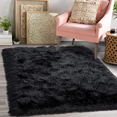 Luxury Fluffy Faux Sheepskin Area Rug, Black Fur Rugs for Bedroom Living Room, 3x5 ft Soft Fuzzy Carpets for Kids Room, Girls Room, Nursery Bedside Rug