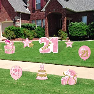 Huray Rayho 21st Birthday Yard Sign Cutouts with Stakes Finally 21 Yard Signs Lawn Outdoor Decorations Pink and Gold Happy...