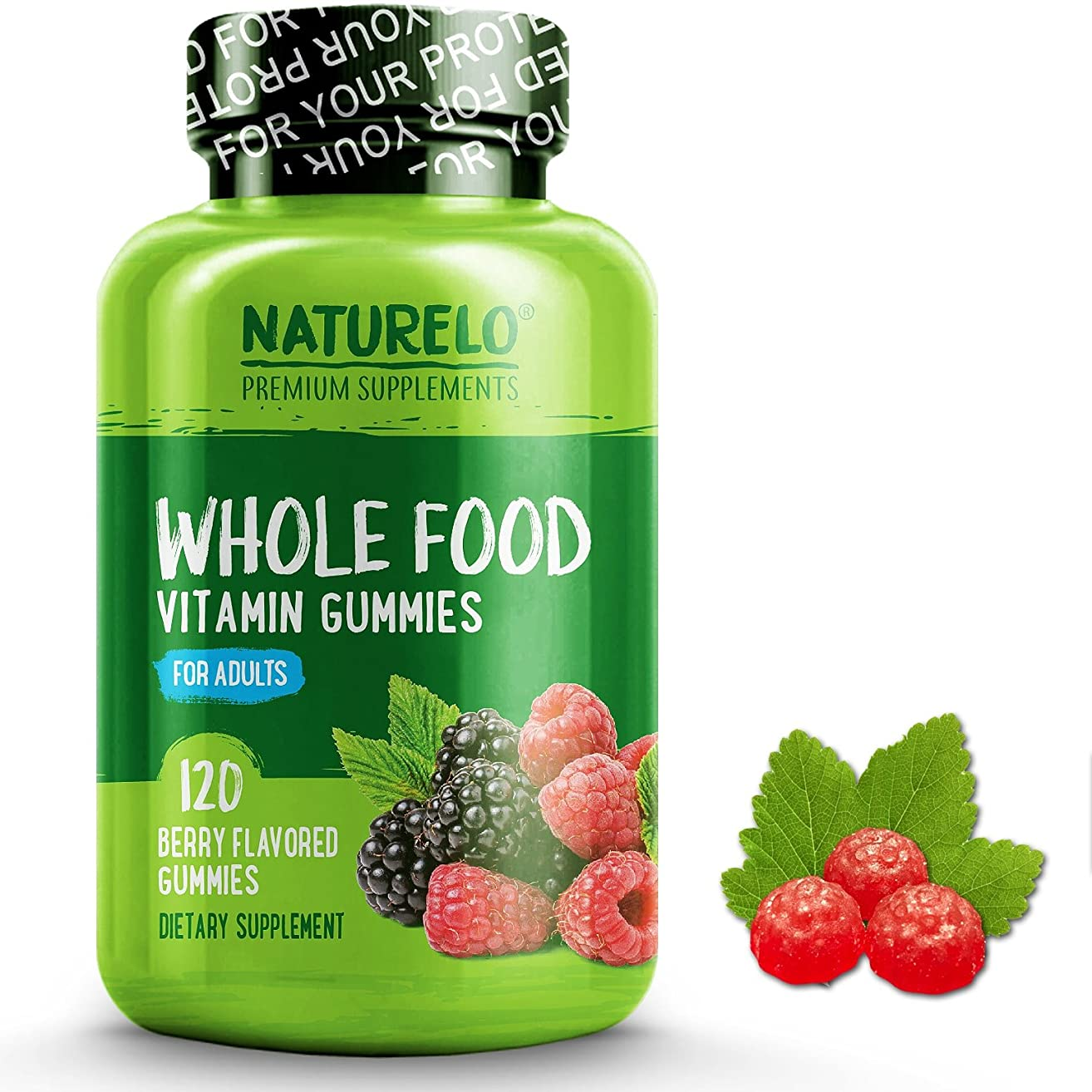 NATURELO Whole Food Vitamin Gummies for Adults - Chewable Gummy Multivitamin for Men - Organic Great Tasting Berry Flavor - 120 Gummies