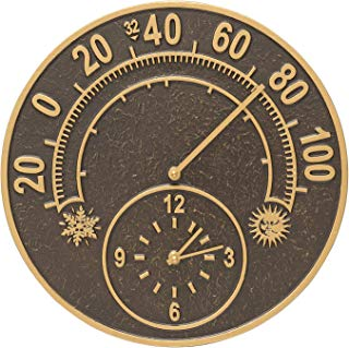 Whitehall Products 1288 Solstice Thermometer Clock, French Bronze