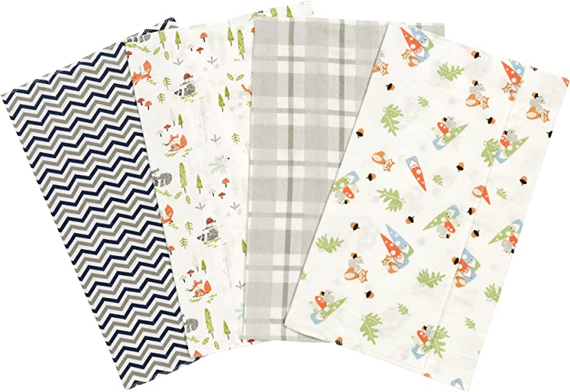 Trend Lab Woodsy Gnomes Flannel Burp Cloth Set 4 Piece