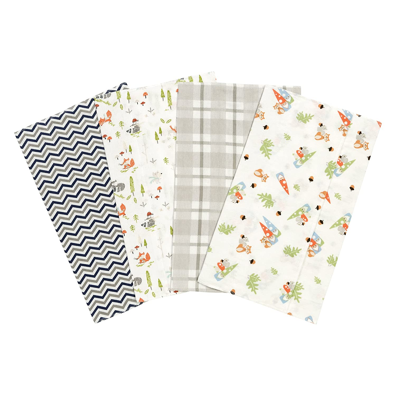 Trend Lab Woodsy Gnomes 4 Flannel Popular brand in Max 76% OFF the world Pack Set Burp Cloth
