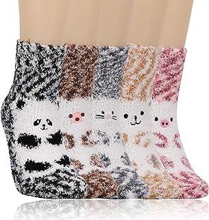 QKURT, 5 pares de calcetines mullidos para mujeres y niñas, calcetines cálidos de invierno, calcetines de lana de coral para el piso, calcetines suaves para dormir en casa