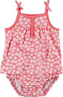 9M Carters Girls Daisy Floral Tie Shoulder Sunsuit; Pink /& White