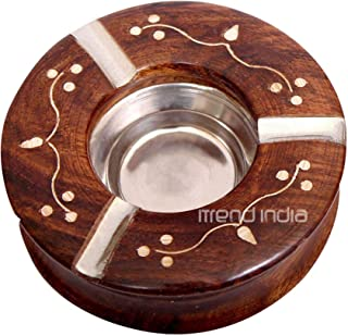 iTrend India Wood Steel Ashtray (4 inch, Natural Brown)