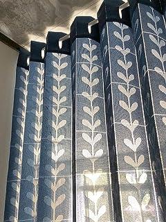 アコーディオンカーテン パタパタ 間仕切り のれん パーテーション 遮熱 丈調整 150×250cm 北欧調 ハート リーフ KL27001 (ネイビー CM542)