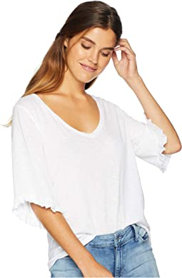 Supima Cotton Slub Elbow Sleeve V-Neck with Ruffles