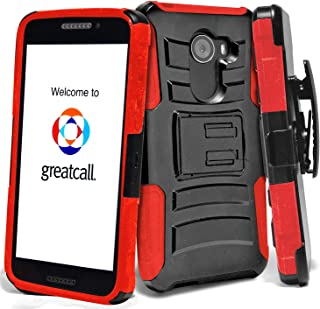 Phonelicious GreatCall Jitterbug Smart 2 Case Xtreme Armor [Heavy Duty] Hybrid Dual Layer Kickstand Belt [Holster Clip] Combo Rugged Tuff with Screen Protector & Stylus (Red)