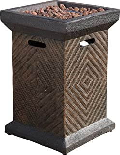 """Christopher Knight Home 296657 Centinela Outdoor 19"""" Liquid Propane Fire Pit Column, Brown"""