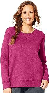 Just My Size Womens OJ098 JMS Fleece V-Notch Sweatshirt Long Sleeves JMS Fleece V-Notch Sweatshirt - Pink
