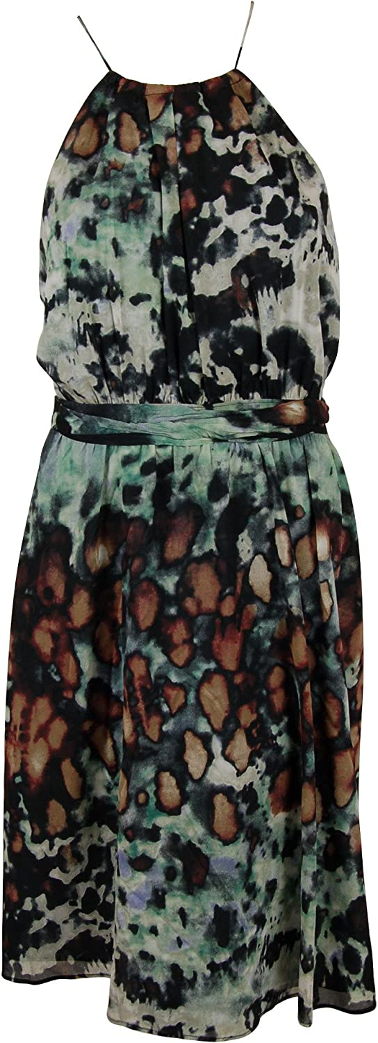 Andrew Marc Womens Printed Halter SilkBlend Dress