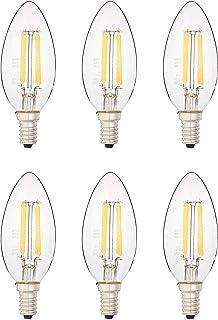 AmazonBasics 40 Watt Equivalent, All Glass, Dimmable - B11 LED Light Bulb, Soft White, 6-Pack