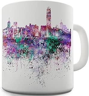 Twisted Envy Hong Kong Skyline Ink Splats Ceramic Funny Mug
