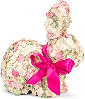 """RAZ Imports Enchanted Easter 9.75"""" Floral Rabbit, Assortment of 2 Figurines"""
