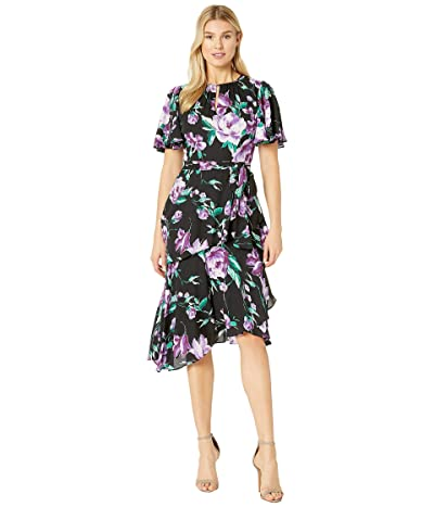 Tahari by ASL Flutter Sleeve Printed Chiffon Tiered Floral Dress (Black/Purple/Green) Women
