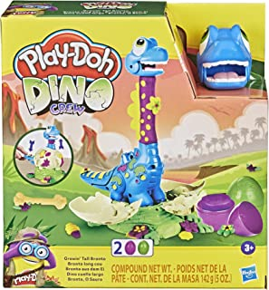 Play-Doh Dino Crew Growin' Tall Bronto Toy Dinosaur for Kids 3 Years and Up with 2 Play-Doh Eggs, 2.5 Ounces Each, Non-Toxic
