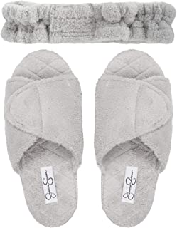 Women's Plush Open Toe Adjustable Slide On Spa Slipper and Stretch Headband Set
