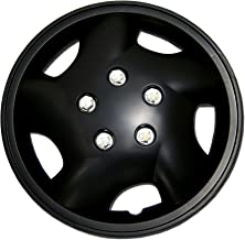TuningPros WC-14-852-B 14-Inches Pop On Type Improved Hubcaps Wheel Skin Cover Matte Black Set of 4