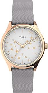 Timex Women's Starstruck 32mm Watch – Rose Gold-Tone Case White Dial with Gray Leather Strap