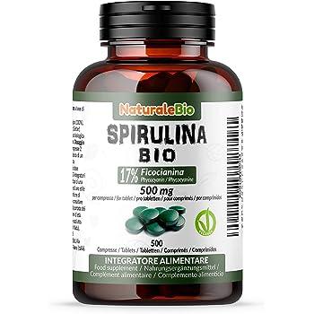 Alga Spirulina Biologica in Compresse da 500mg (500 compresse). 100% Bio, Naturale e Pura, Ficocianina al 17%. Coltivata in India, Tamil Nadu. Integratore adatto a Vegetariani e Vegani. NaturaleBio