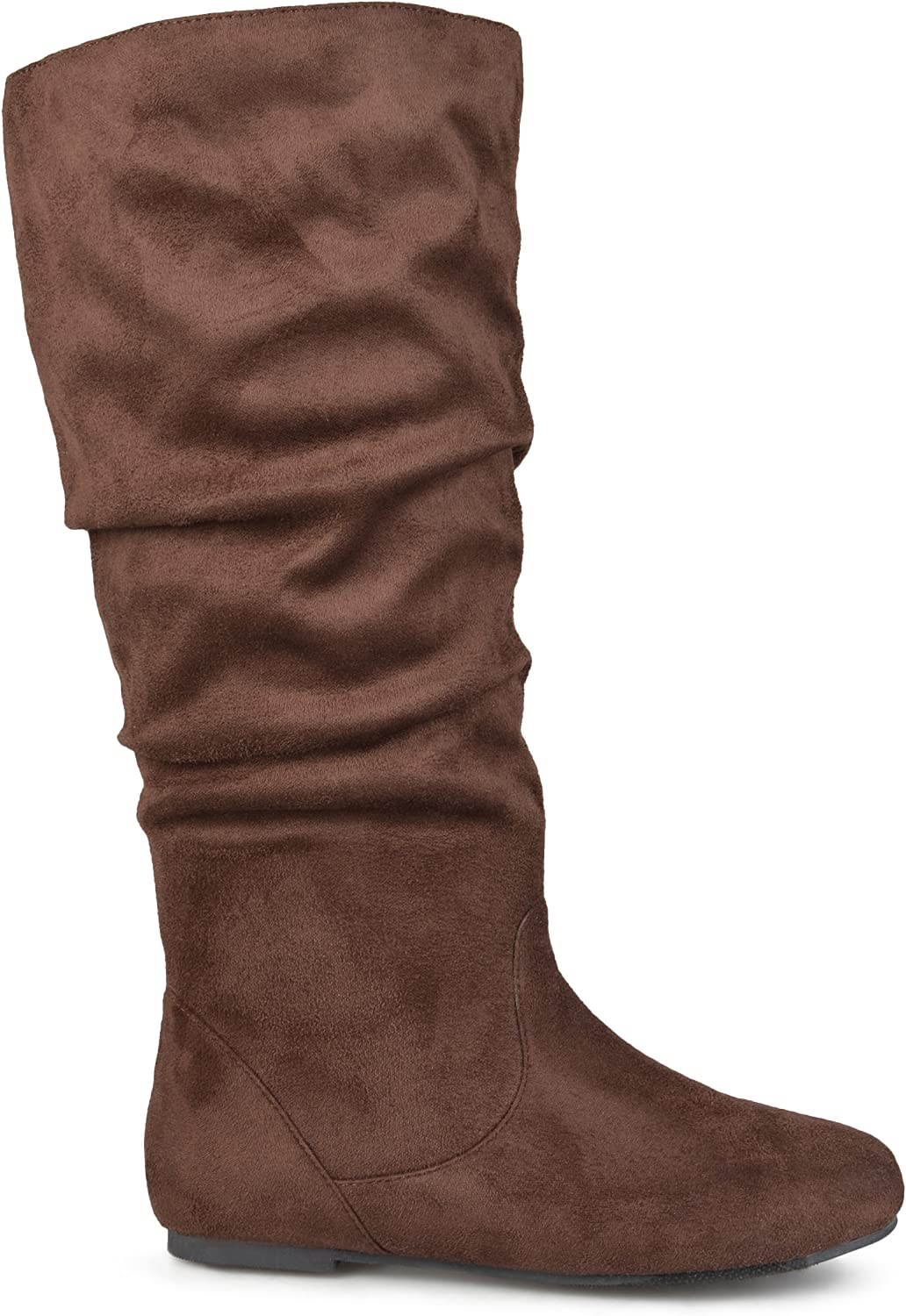 Brinley Co. Womens Regular Size and Wide-Calf Knee-High Slouch Microsuede Boot