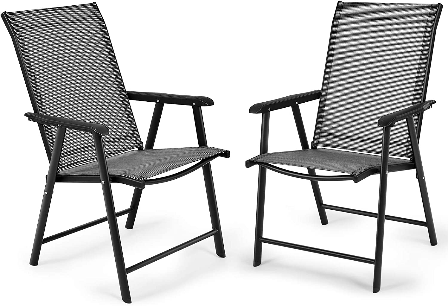 RELAX4LIFE Patio Folding Chairs Set Long-awaited of W High gift Backrest Armrest 4