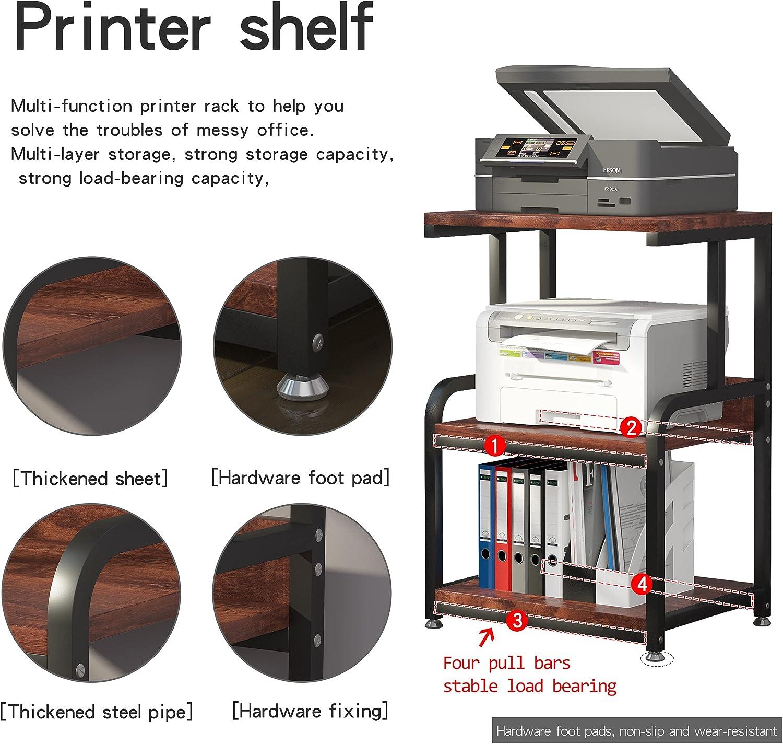 Retro PUNCIA Printer Stand Desktop 3-Tier Large Size High Capacity ...