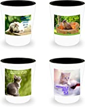 Happiness is being owned by a cat! Adorable collection of 4 shot glasses featuring cats!