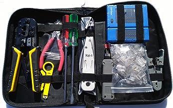 تستر کابل UbiGear + Crimp Crimp + 100 عدد RJ45 CAT5e کانکتور پلاگین ابزار شبکه (Premium568)