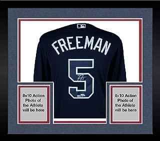 Framed Freddie Freeman Atlanta Braves Autographed Majestic Replica Navy Jersey - Fanatics Authentic Certified