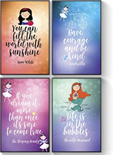 Inspirational Posters - Fairy Tale Advice - Girl Bedroom Decor - Princess Girl Wall Art - Motivational and Inspiring Quotes for Girls Wall Decals