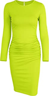Women's Long Sleeve Ruched Casual Sundress Midi Bodycon...